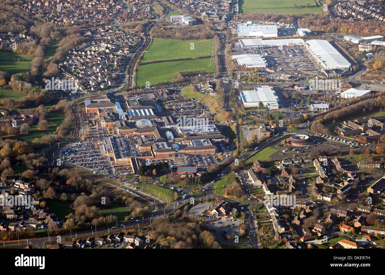 Aerial View Of Crystal Peaks Shopping Centre And Drake House Retail Park  Near Sheffield