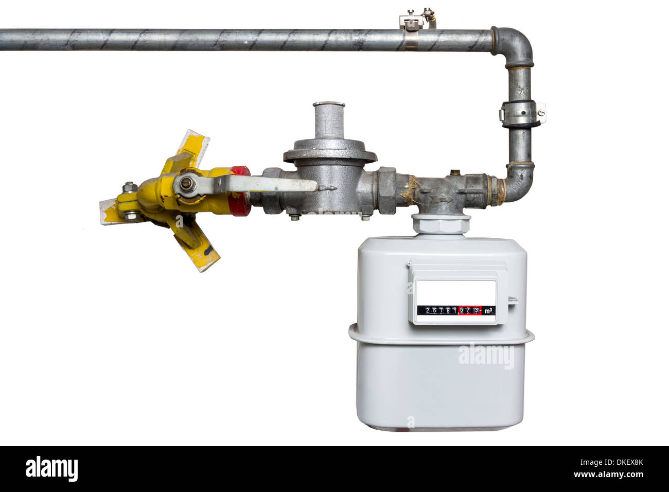 Installed Gas Meter with Pipes isolated on white background - Stock Image