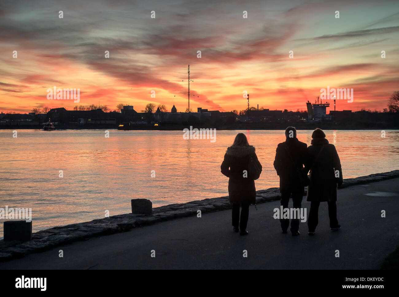 Locks at Exit of Kiel Canal at sunset, Germany - Stock Image