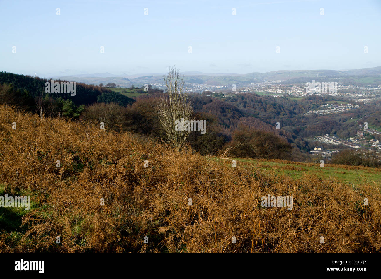 View from the Rhymney Valley Ridgway Footpath looking towards Pontllanfraith, Gwent, South Wales Valleys. Stock Photo
