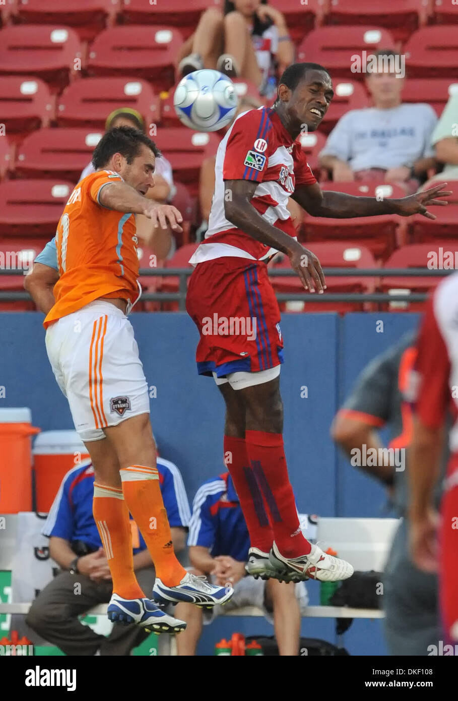 06 AUG 2009: FC Dallas Midfielder Atiba Harris wins the ball over Dynamo Brian Ching as FC Dallas wins 1-0. (Credit - Stock Image