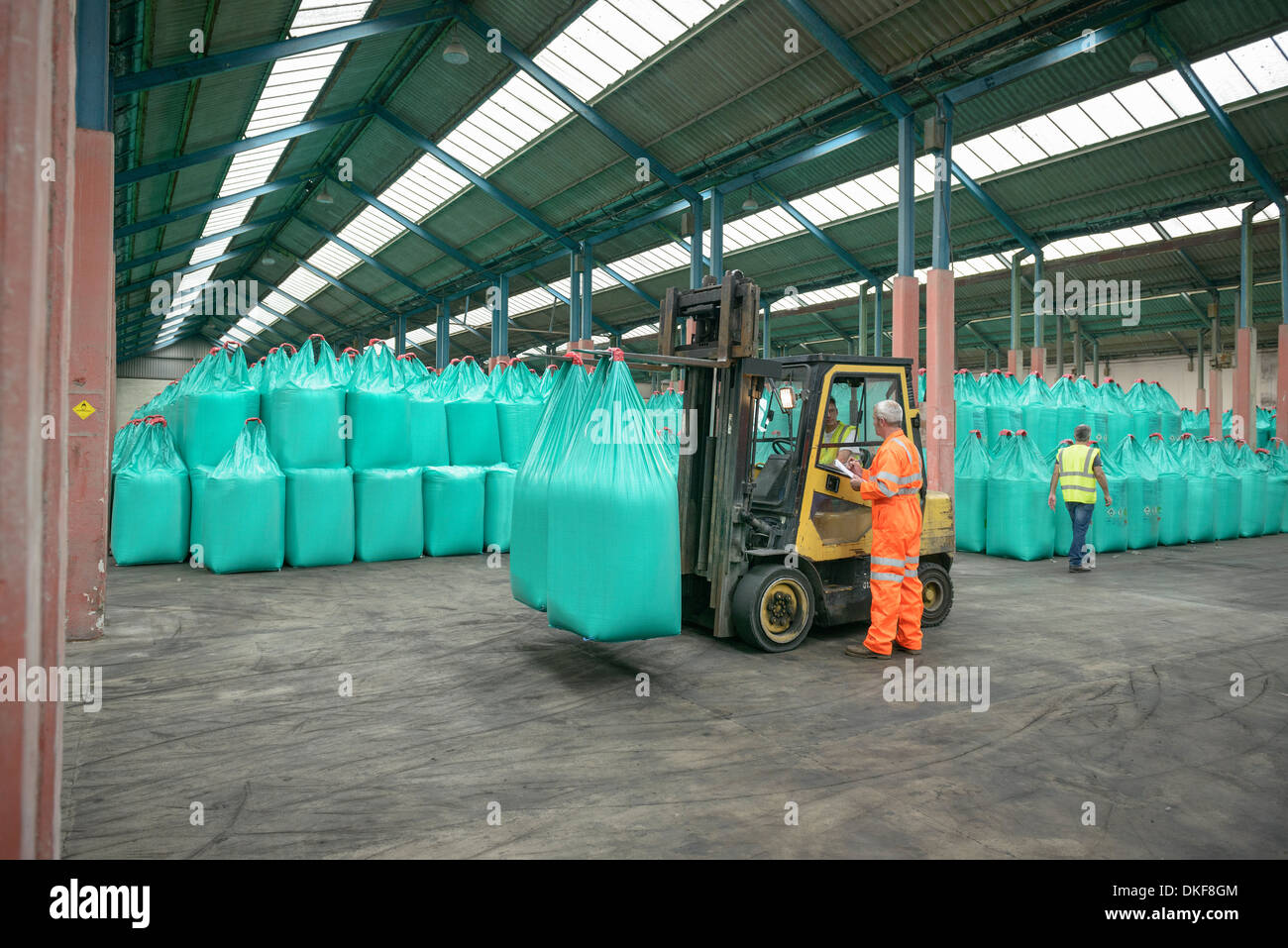 Workers and fork lift truck in bulk fertiliser store in port - Stock Image