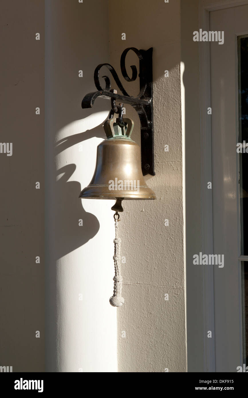 Delicieux Traditional Hanging Brass Front Door Bell In Sun Light Stock ...