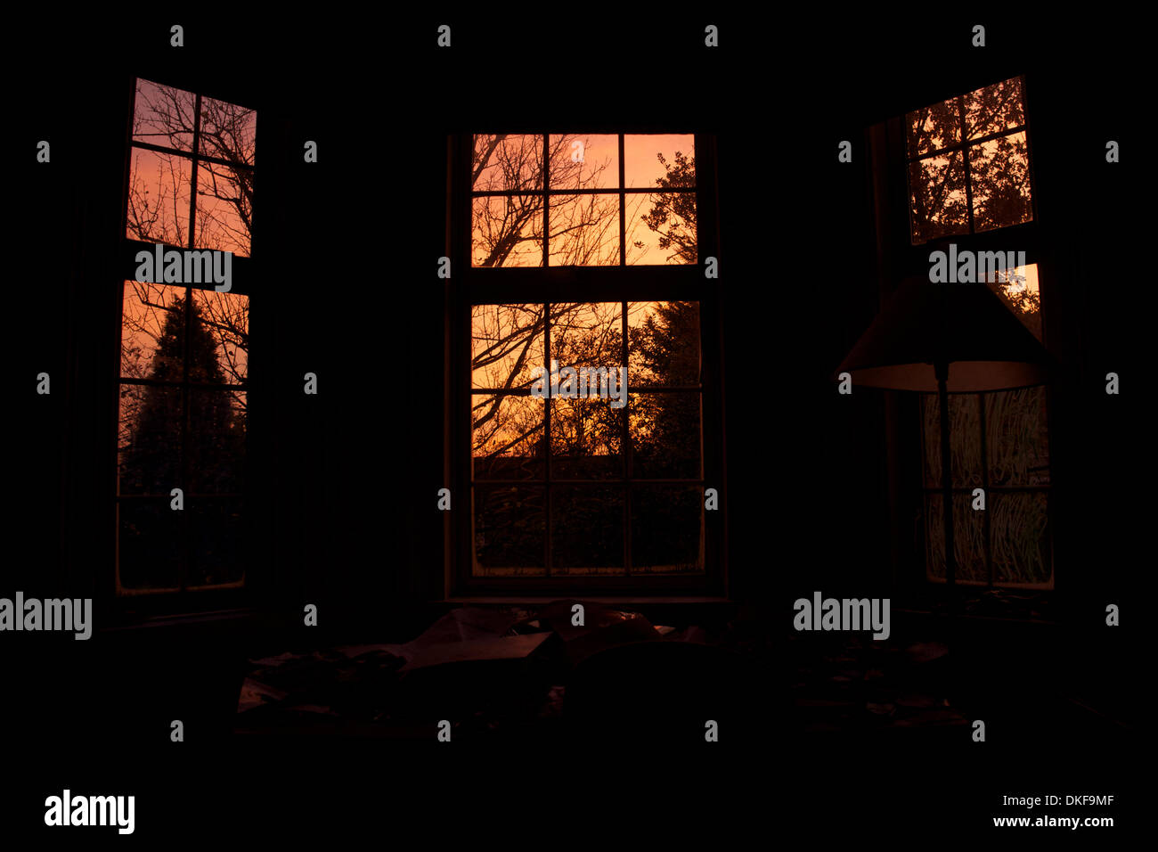London, UK 5th December 2013. Red sky in the morning, shepherd's warning. Red sky as seen through bay window in Sydenham, London alerting us to a major storm system. Photo credit: Paul Treacy / Alamy Live News. - Stock Image