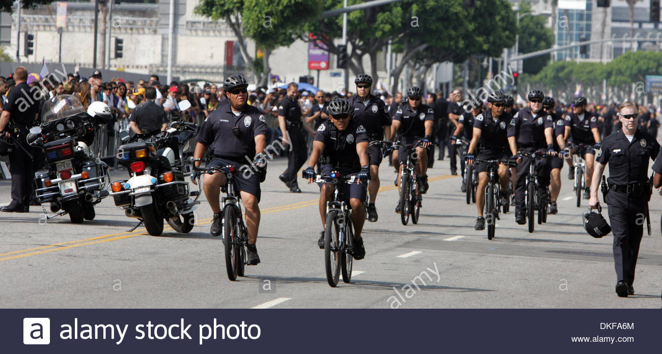 A heavy LAPD presence during the Lakers Parade in Los