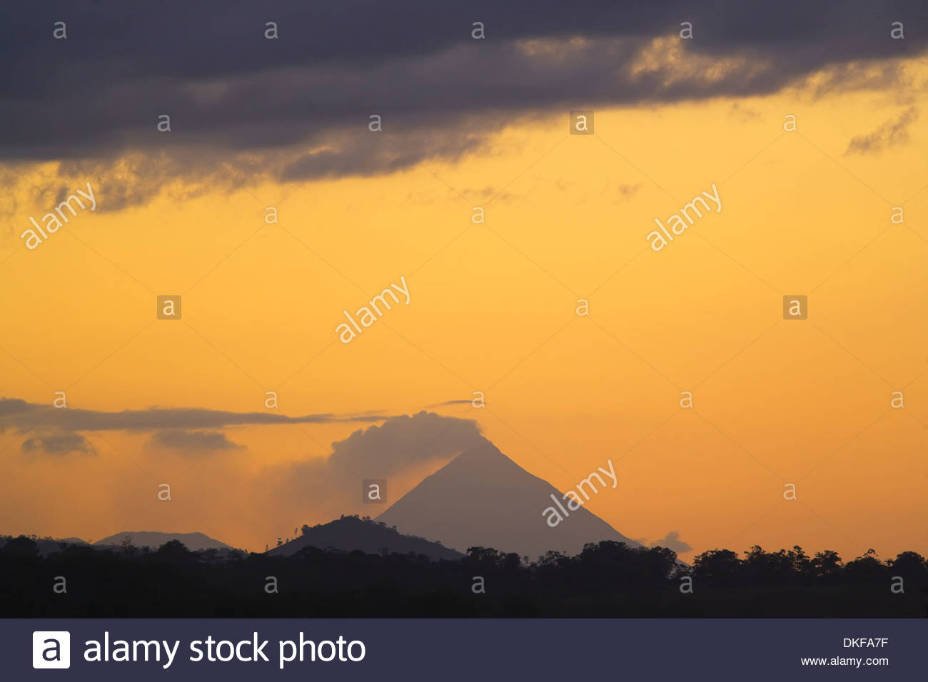 Evening view of Arenal Volcano, La Fortuna, Costa Rica - Stock Image