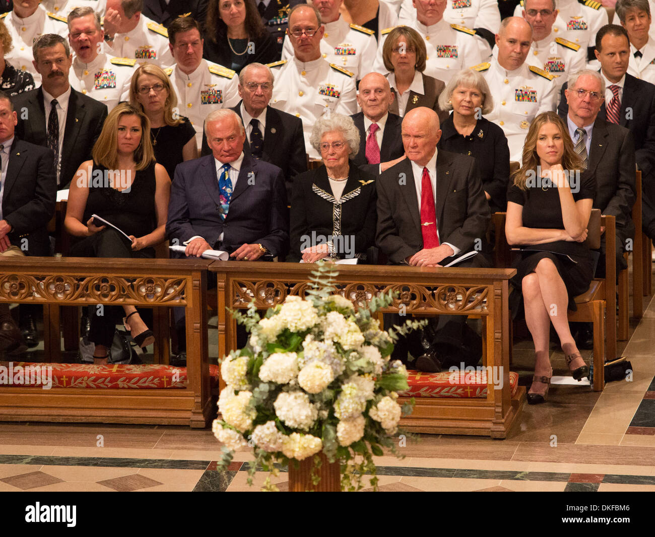 Buzz Aldrin Annie Glenn and John Glenn Memorial service in honour of United  States astronaut Neil