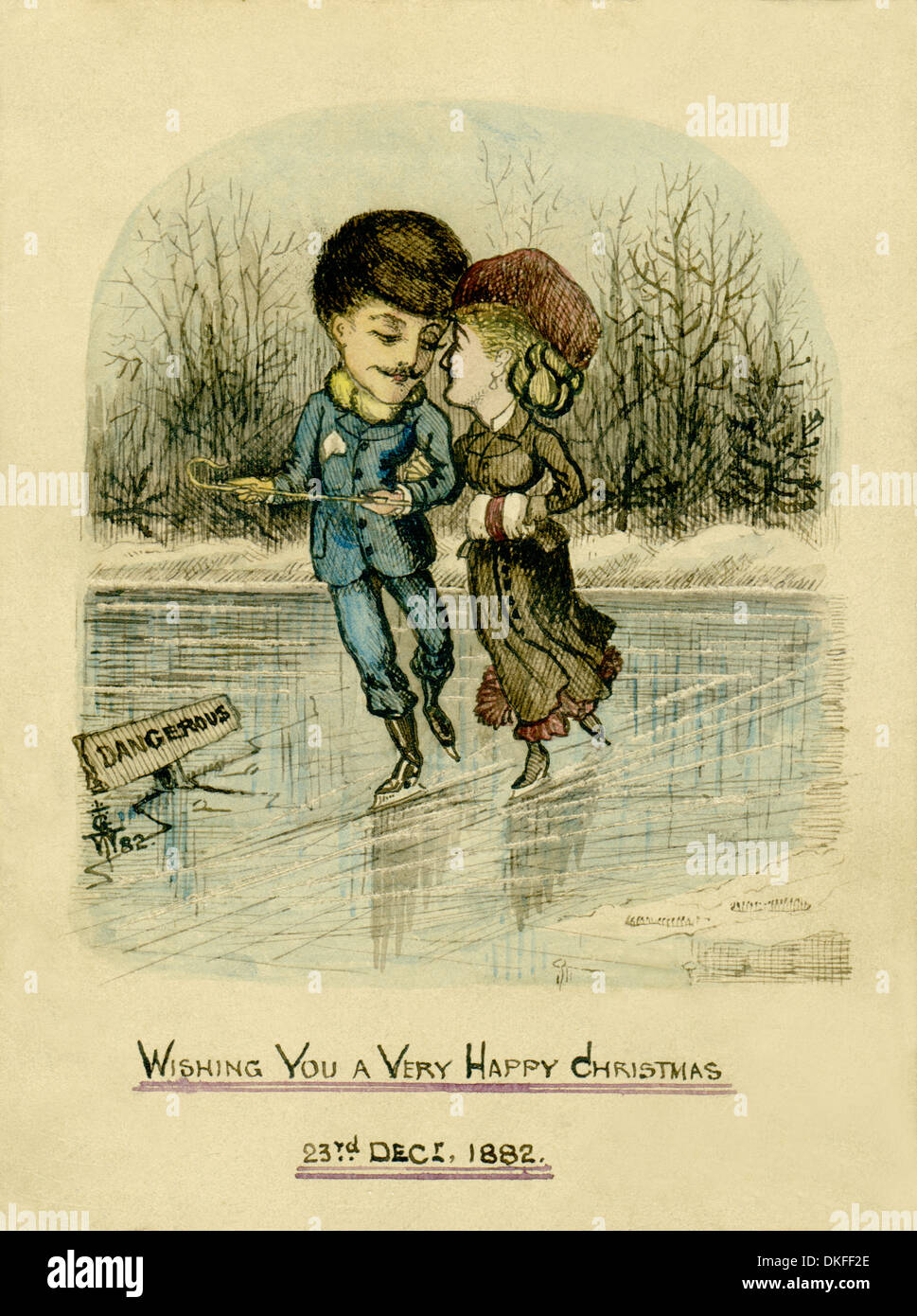 Victorian Christmas. Original watercolour and ink Christmas card / postcard of a couple ice skating, dated 1882. - Stock Image