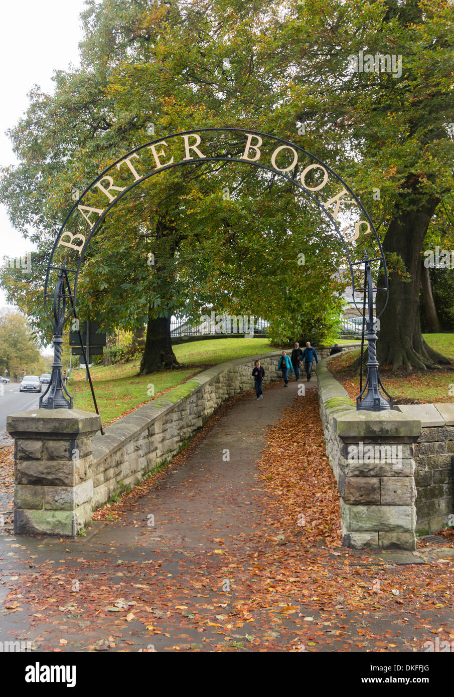 Pedestrian entrance to Barter Books, Alnwick. Barter Books is an extensive secondhand book shop and tourist attraction. - Stock Image