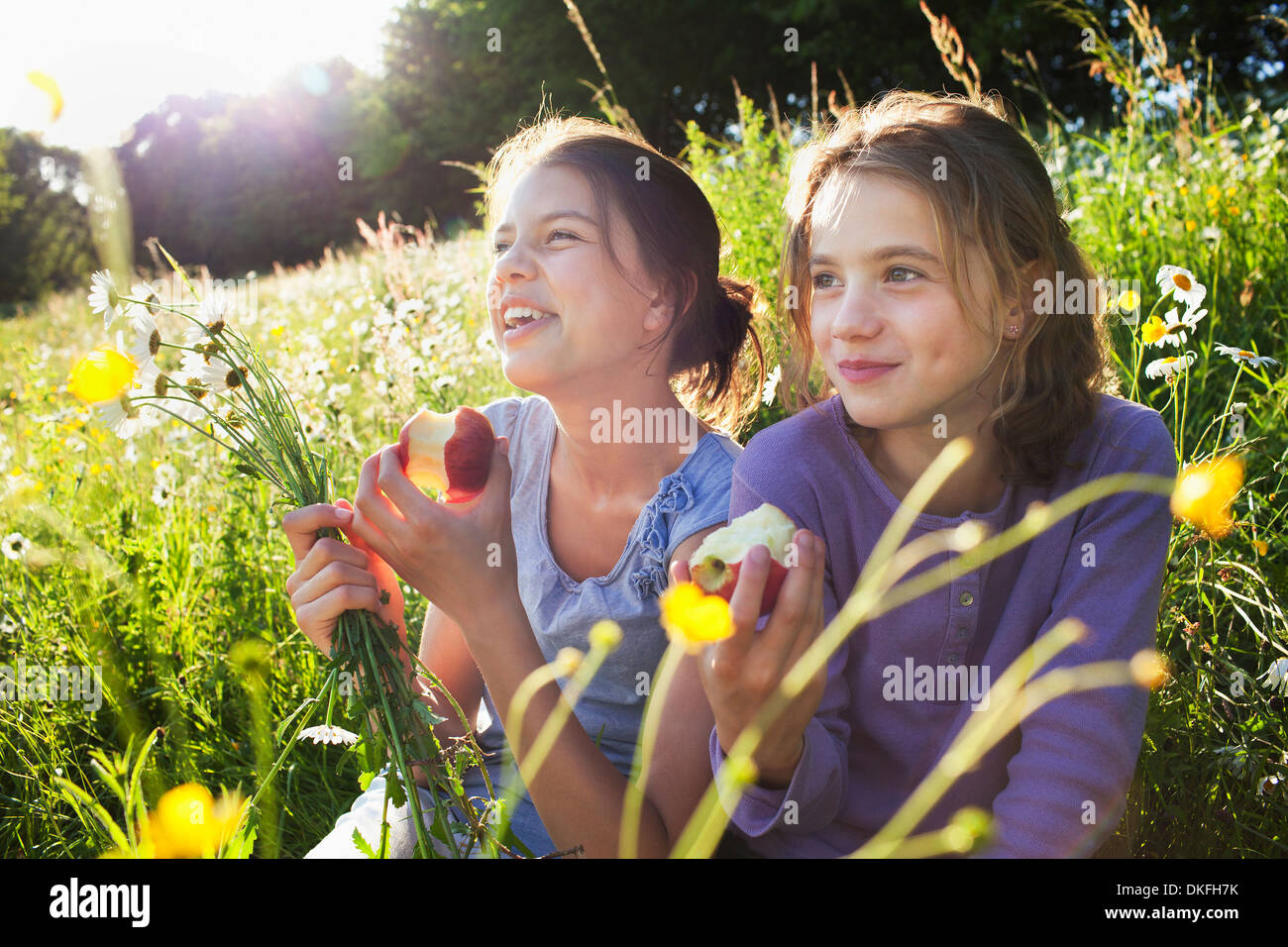 Sisters sitting in field eating apples - Stock Image