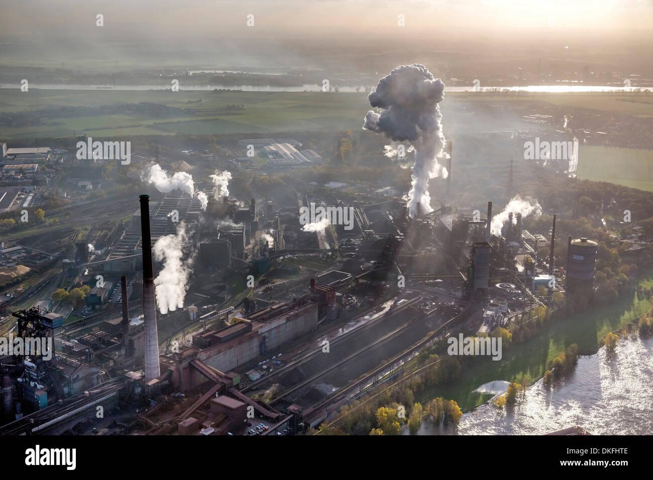 HKM, Mannesmann Blasstahlwerk 1, basic oxygen steelmaking plant, aerial view, Rheinhausen, Duisburg, Ruhr area - Stock Image
