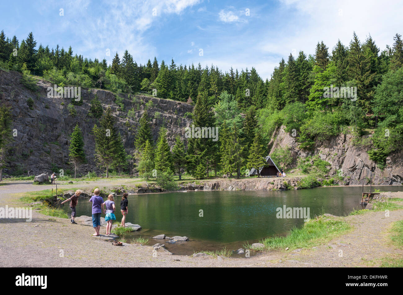 Bergsee Ebertswiese, mountain lake, place of excursions, swimming lake, at Rennsteig ridge walk, Thuringian Forest, Thuringia - Stock Image