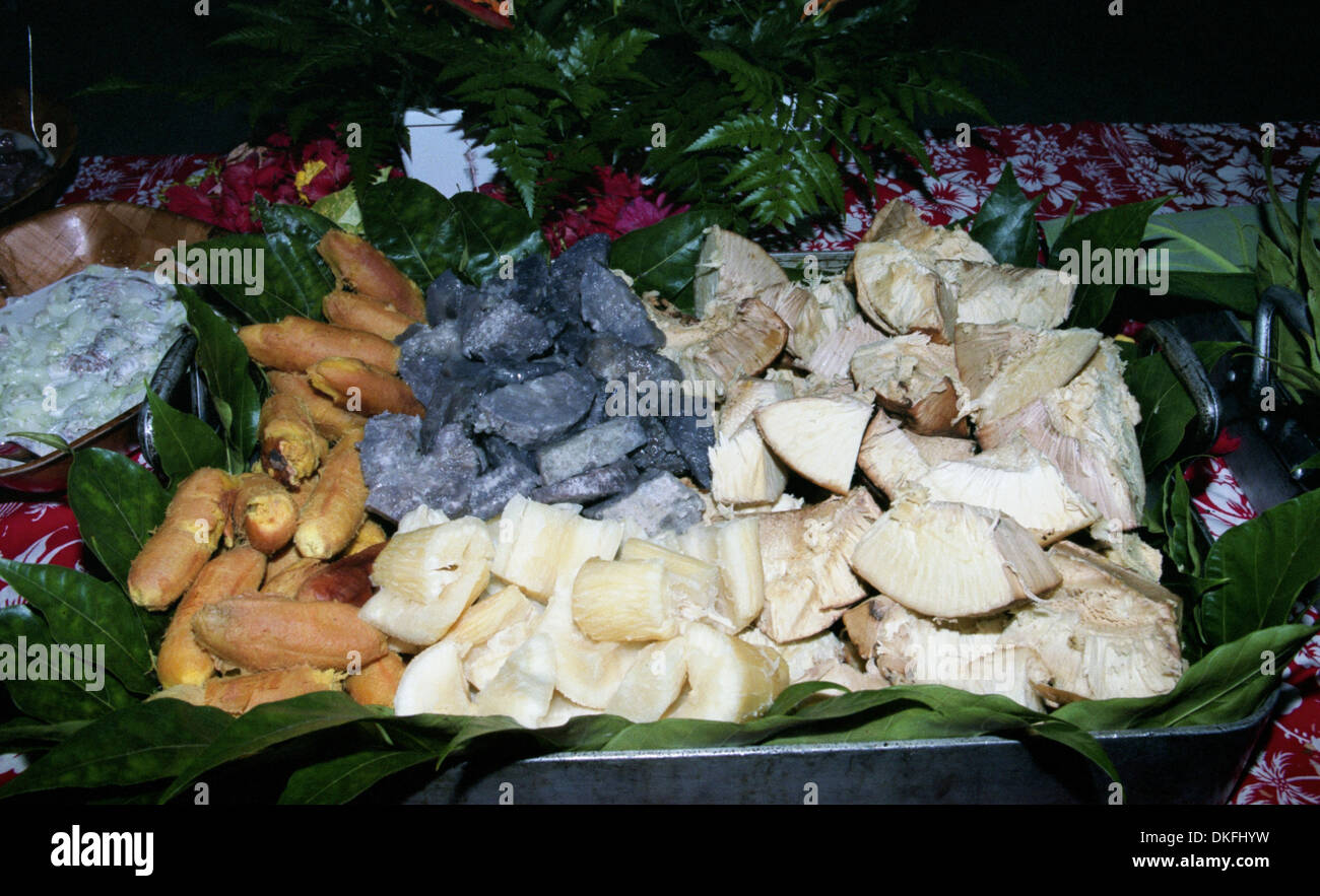 A buffet consisting of only Polynesian vegetarian dishes - Stock Image