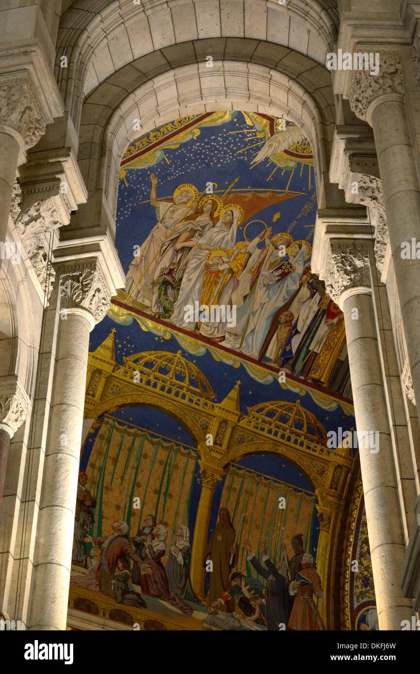 Interior, Sacré-Cœur, Montmartre, Paris, Île-de-France, France Stock Photo