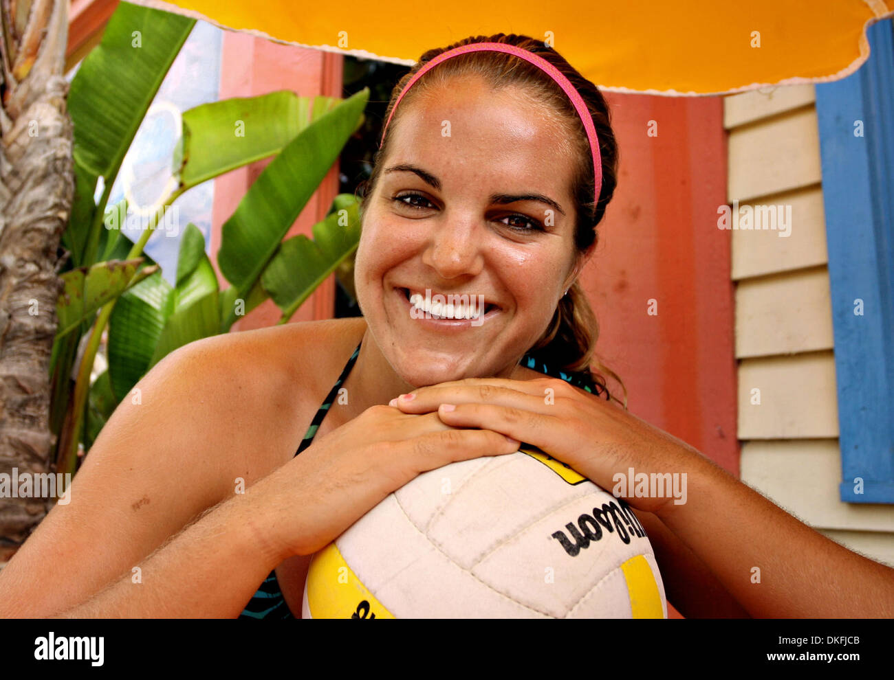 4584633096363 SP 308102 DIEZ volleyball 1 of 1 (06/27/2009 CLEARWATER BEACH) Osceola  High's Allison Shirley sat for a portrait outside Frenchy's Off the Hook  gift shop.