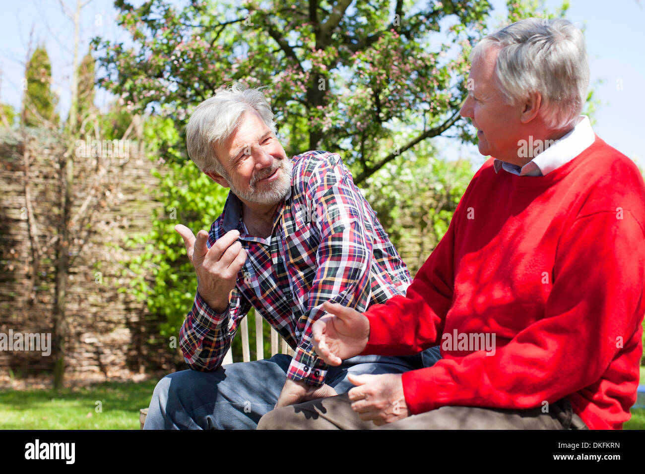 Two senior male friends tallking - Stock Image