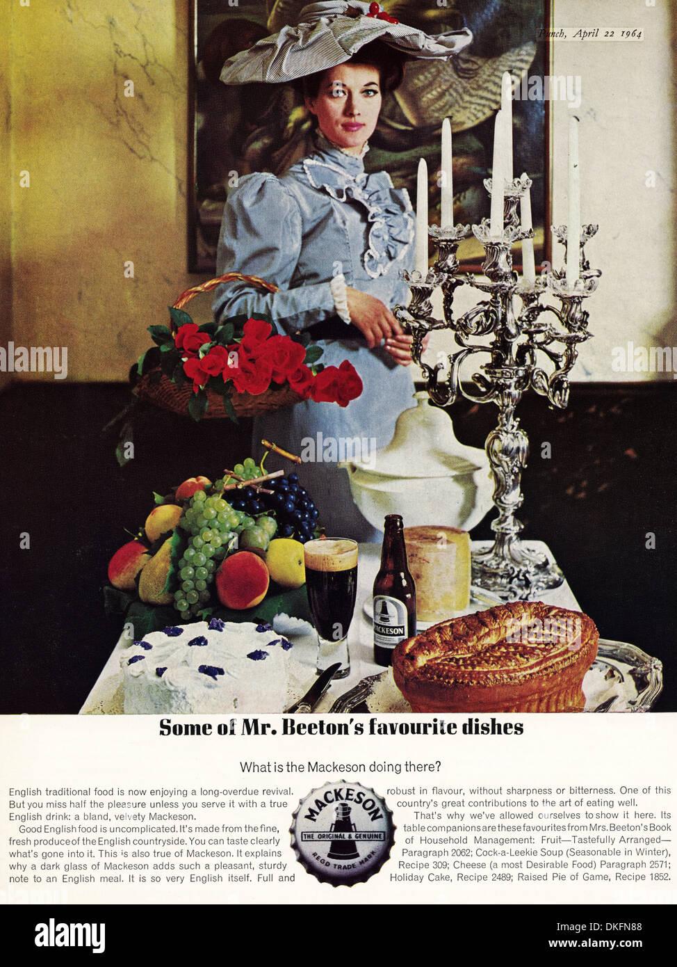 1960s vintage magazine advertisement advertising MACKESON featuring Mrs Beeton - Stock Image