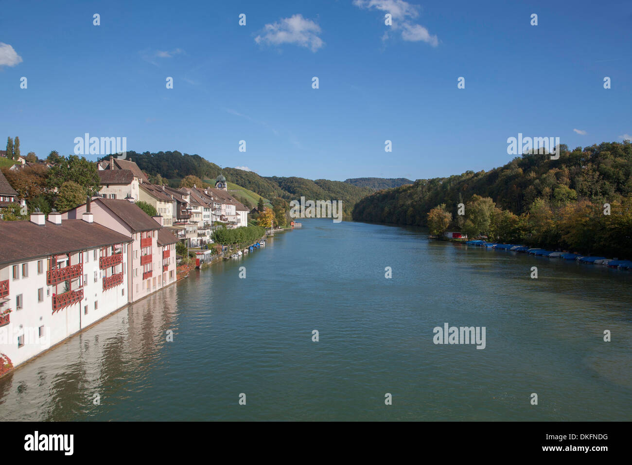 eglisau, rhine river, canton zurich, switzerland Stock Photo