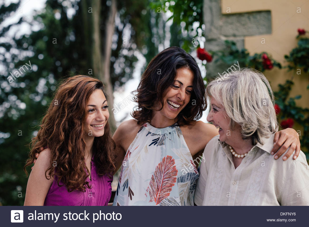 Three generations of female family together - Stock Image