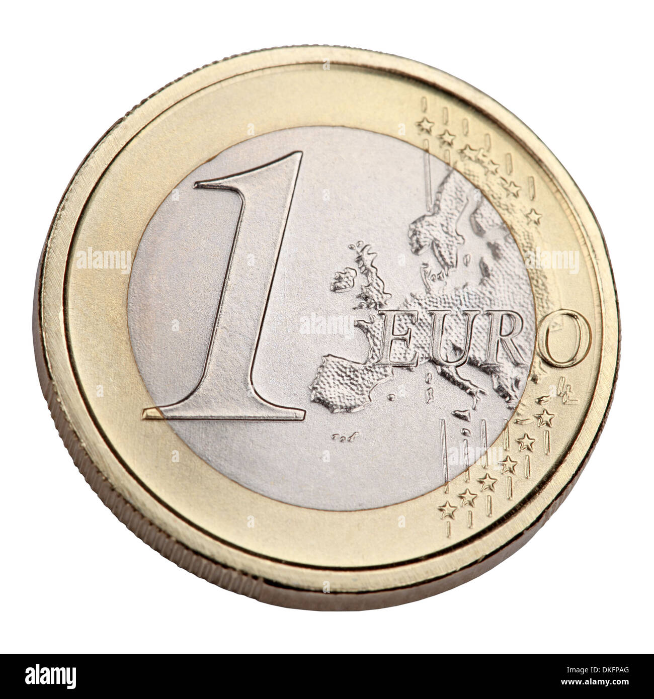 One Euro coin, money isolated on a white background - Stock Image