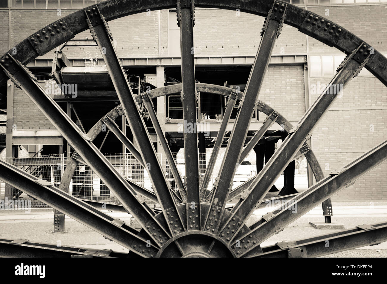 Driving wheels, Zeche Zollverein, Essen, North Rhine-Westphalia, Germany, Europe - Stock Image