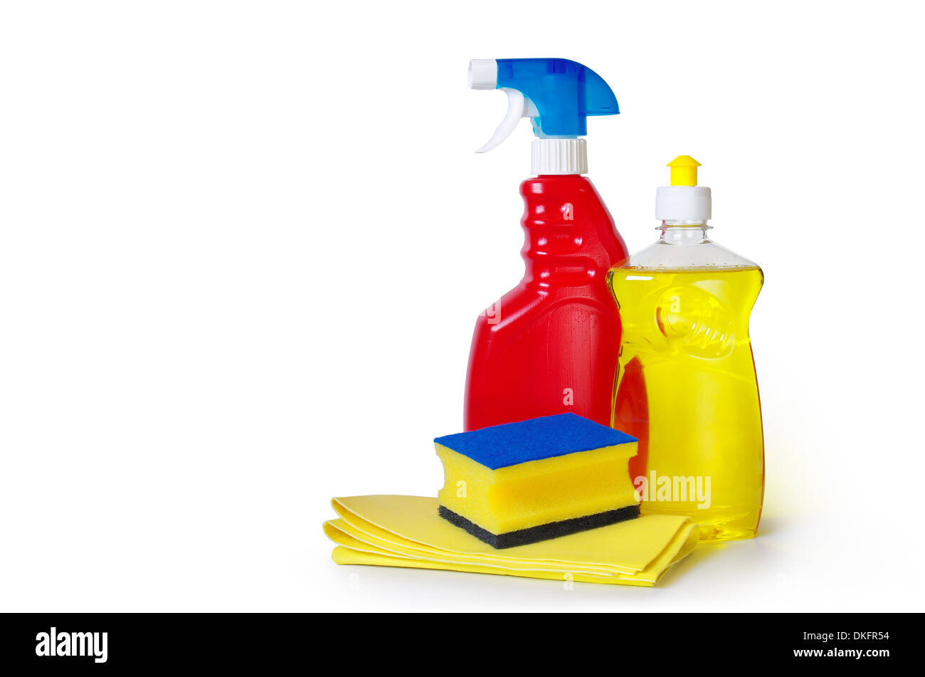 dish washing detergent, sponge an cloth over white background - Stock Image