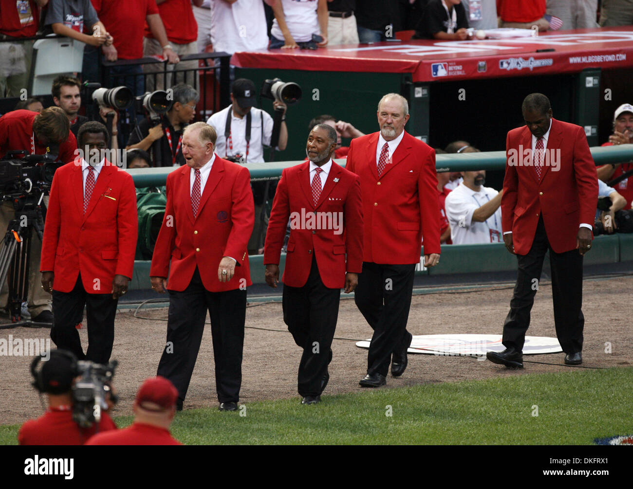 Jul 14, 2009 - St. Louis, Missouri, USA - MLB Baseball - Cardinal greats (L-R) LOU BROCK, RED SCHOENDIENST, OZZIE SMITH, BRUCE SUTTER, BOB GIBSON, and Stan Musial (not pictured) at the start of Tuesday's MLB All-Star Game at Busch Stadium in downtown St. Louis. (Credit Image: © Robert Cohen/St Louis Post-Dispatch/ZUMA Press) RESTRICTIONS: * Alton, Belleville, Edwardsville, Moline,  - Stock Image