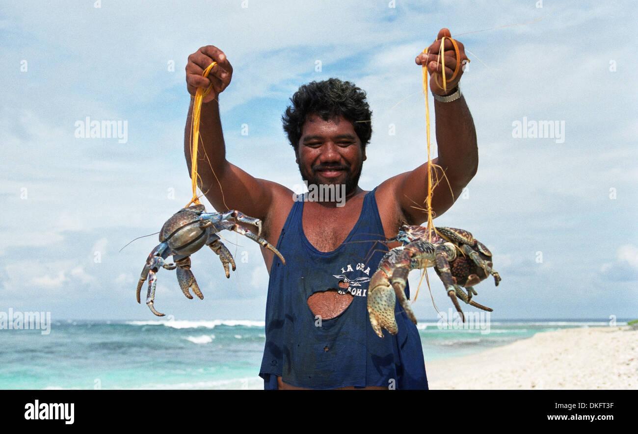 Polynesian whit coconut crab Raroia. Tuamoto - Stock Image