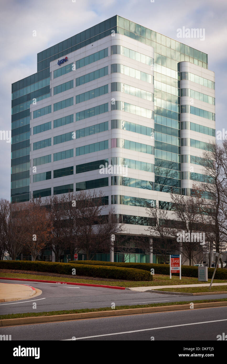 This building in Columbia, Maryland, houses all the computers that run Obamacare (Affordable Care Act) website. - Stock Image