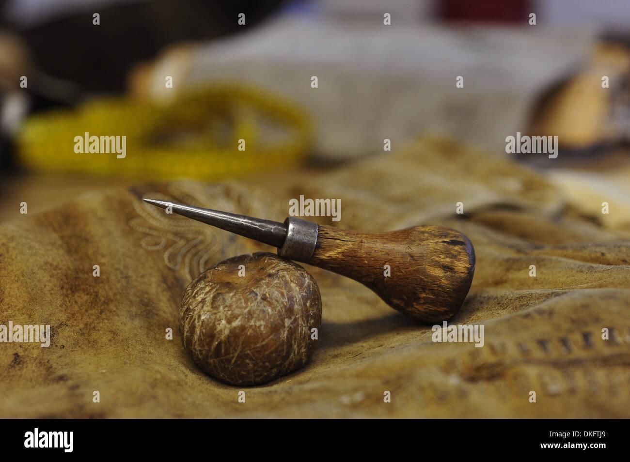 Manufacturing of a lederhosen in a workshop - Stock Image