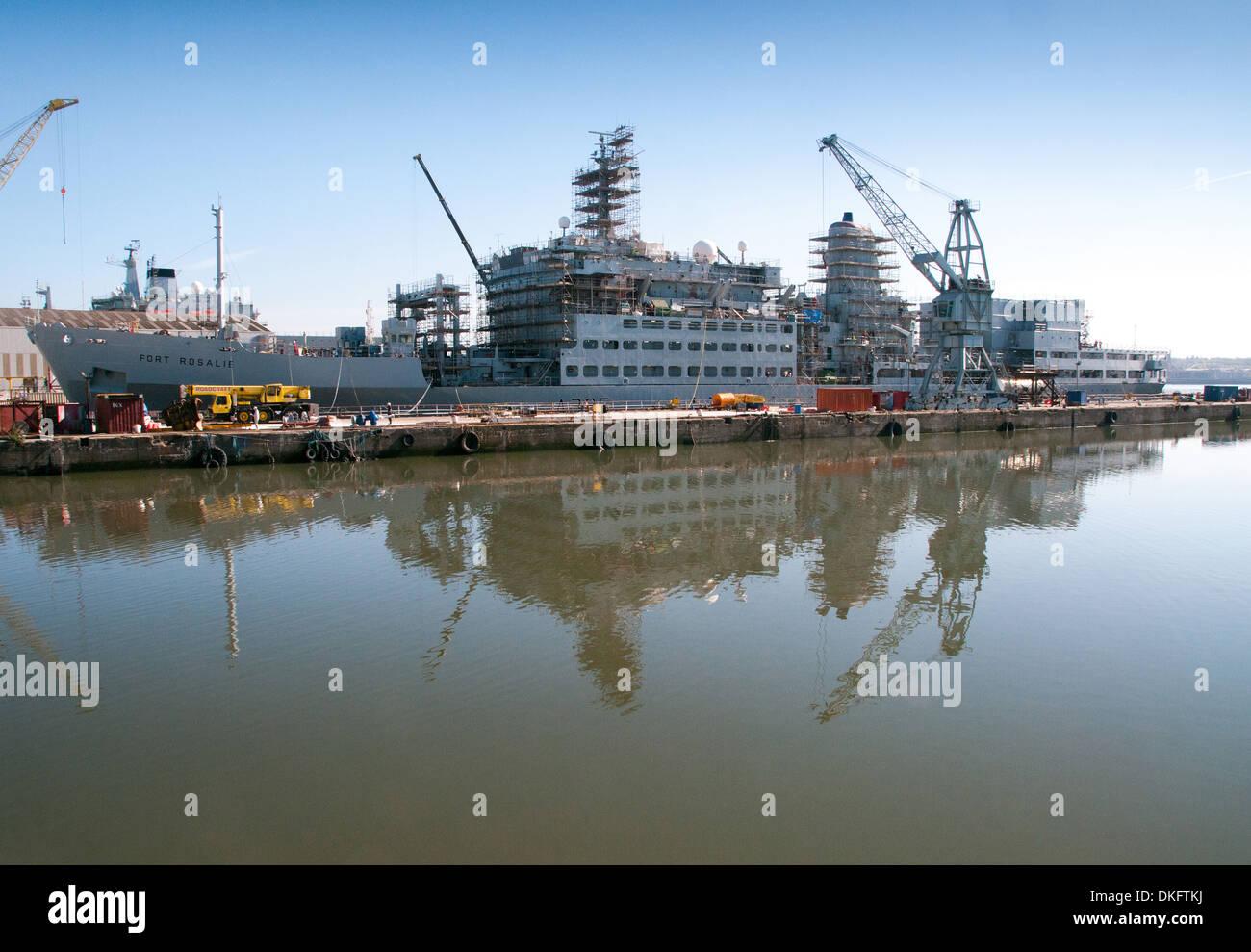 Royal Fleet Auxillery's refitting at Birkenhead - Stock Image