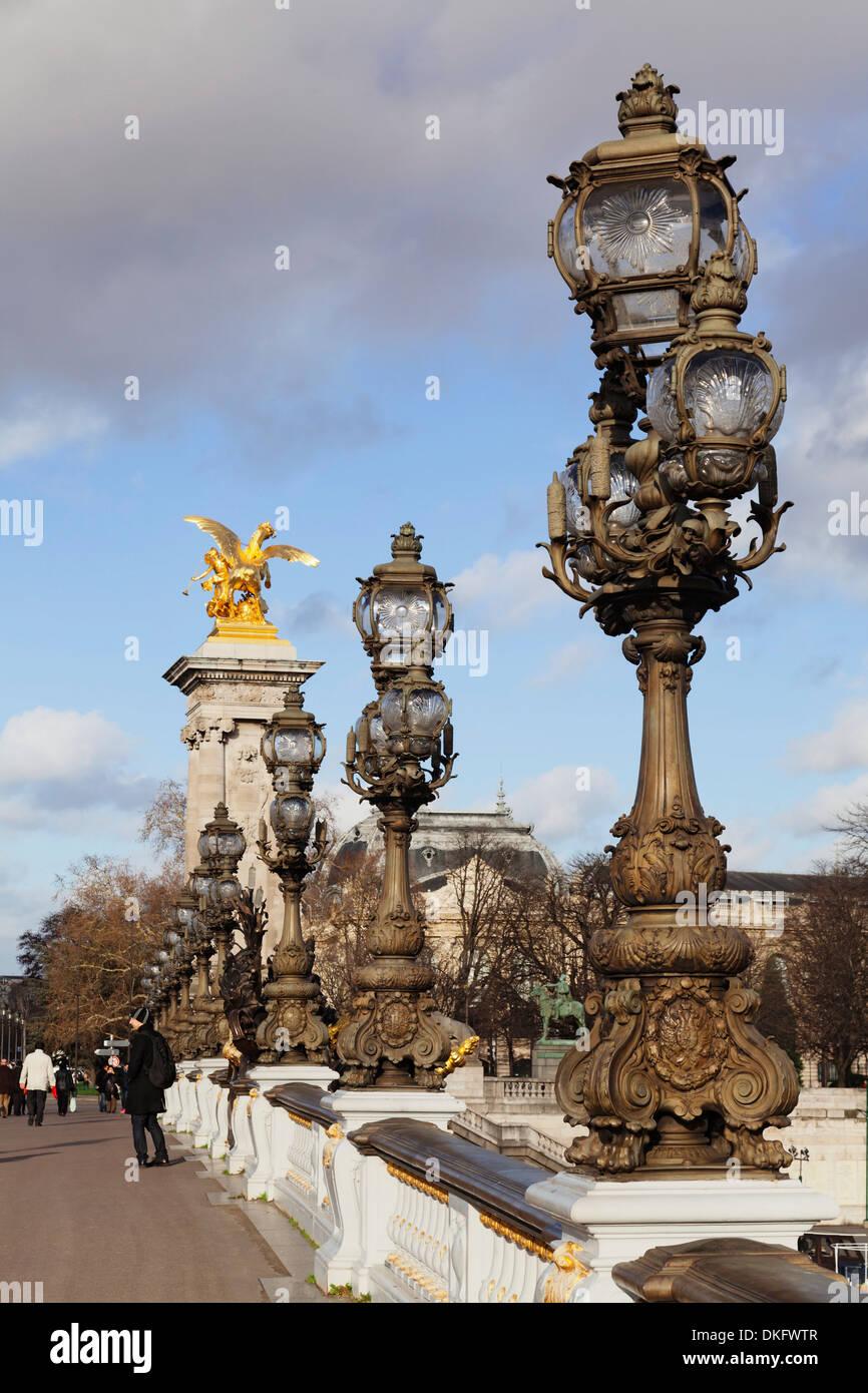 Pont Alexandre bridge, Paris, Ile de France, France, Europe - Stock Image