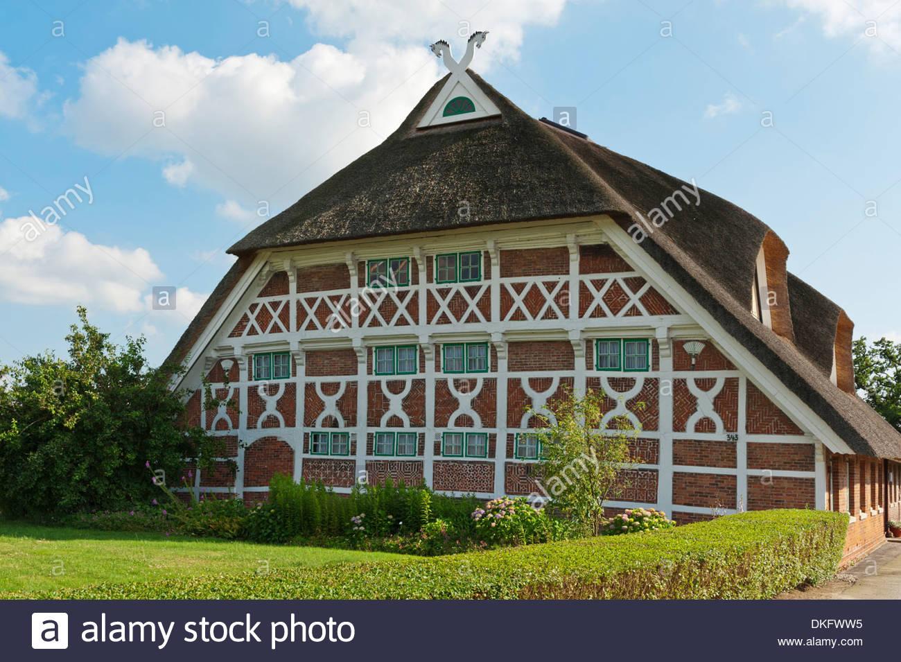 Fade of a historical timber-framed house, Vier- und Marschlande, Hamburg, Germany - Stock Image
