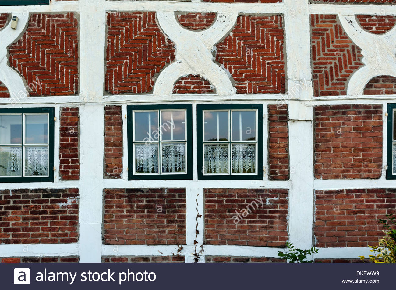 Fade of a historical timber-framed house, Vier- und Marschlande, Hamburg, Germany, close-up - Stock Image