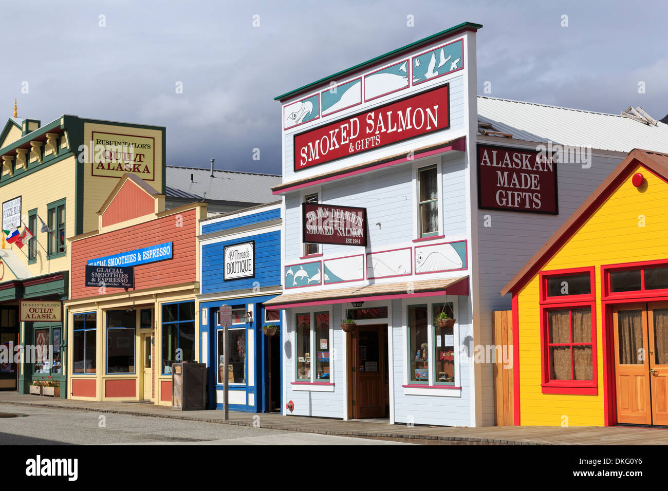 Stores on 5th Avenue, Skagway, Alaska, United States of America, North America - Stock Image