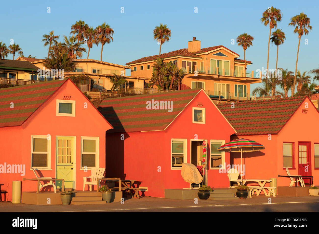 Historic Roberts Cottages in Oceanside, California, United States of America, North America - Stock Image