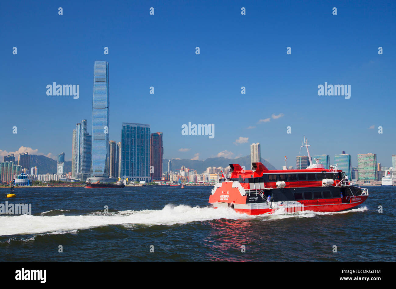 International Commerce Centre (ICC) and Macau ferry, West Kowloon, Hong Kong, China, Asia - Stock Image