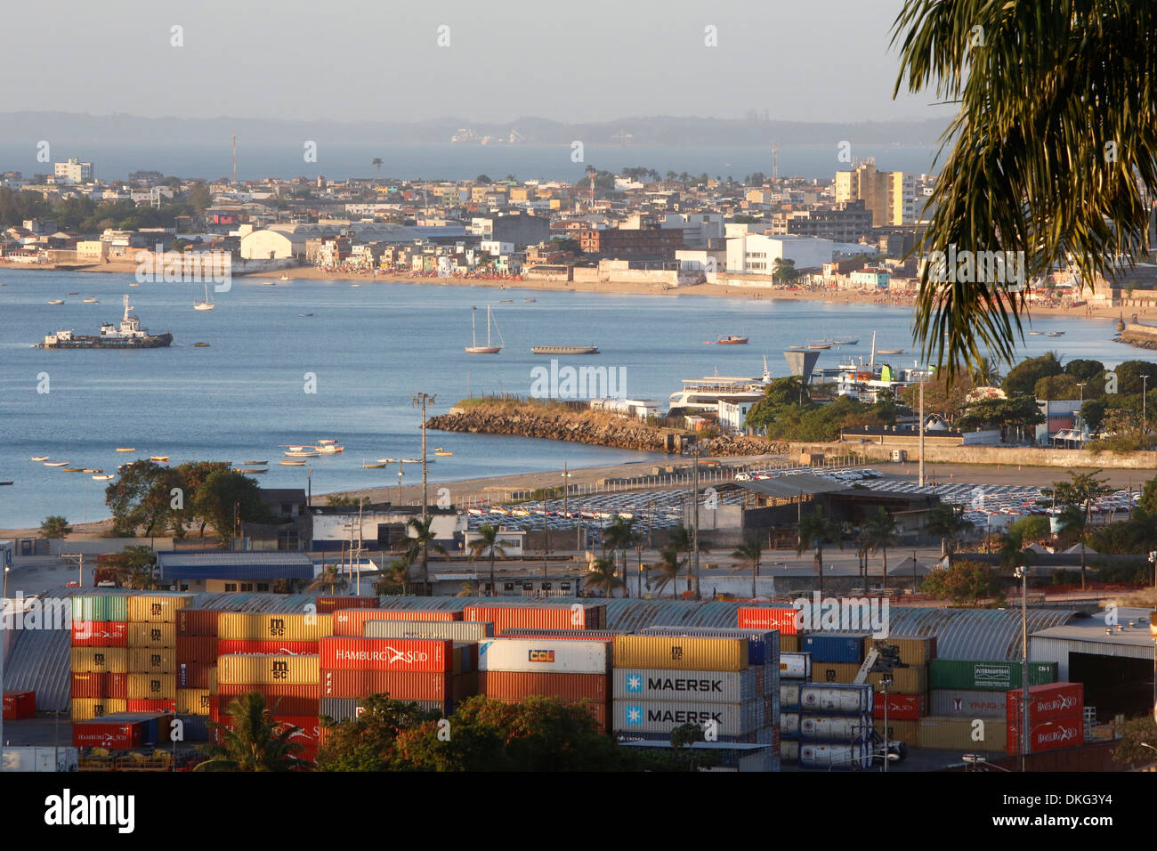 Cargo and ships in Salvador Bay, Salvador, Bahia, Brrazil, South America - Stock Image