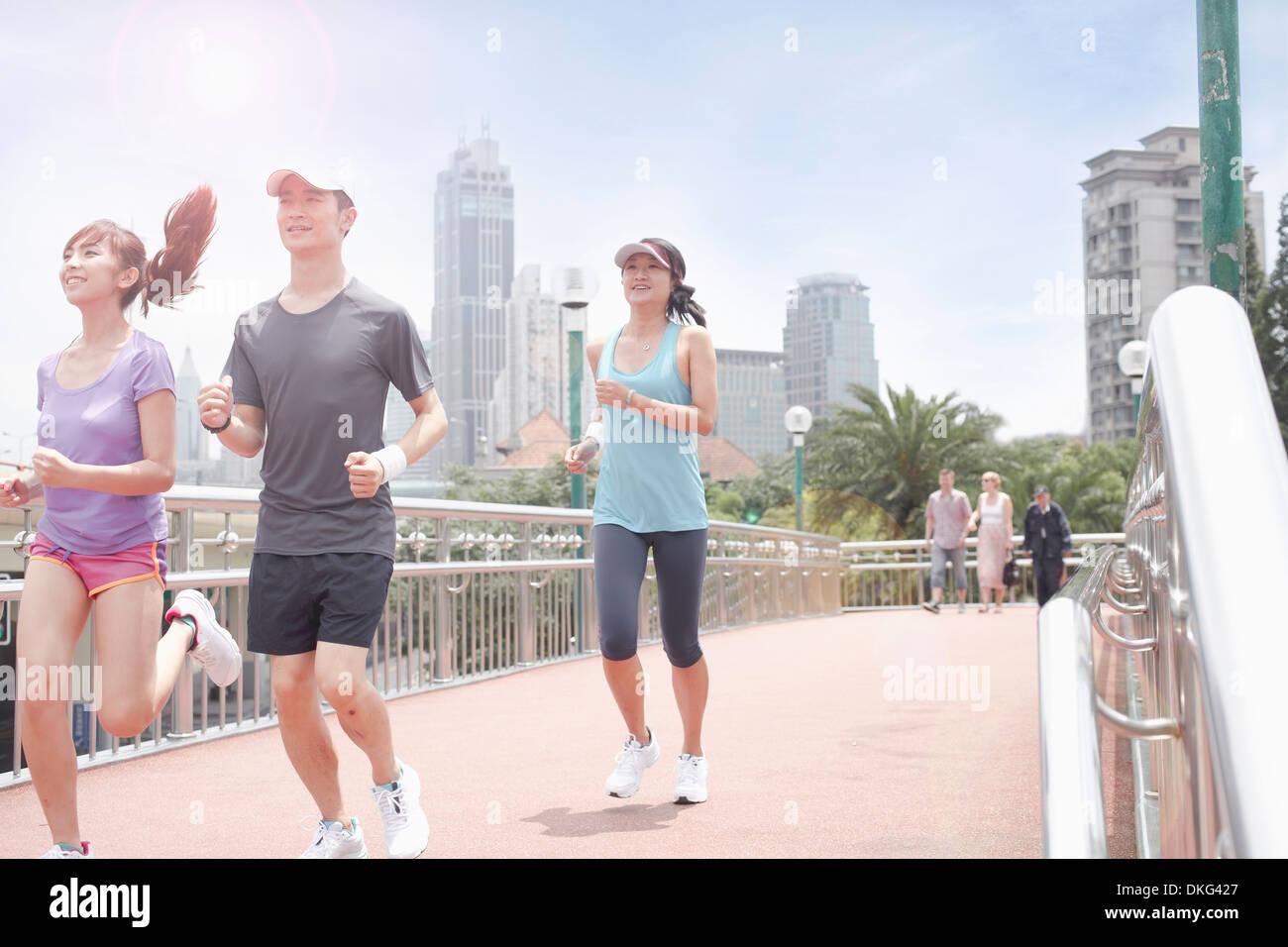 Runners in Shanghai, China - Stock Image