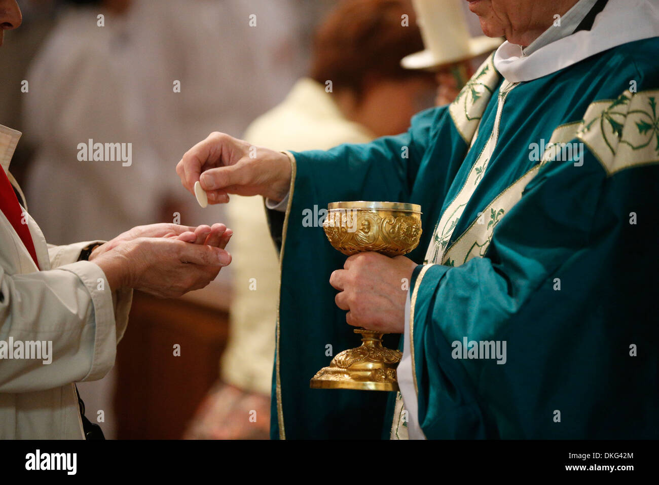 Catholic Mass, Eucharist, Villemomble, Seine-Saint-Denis, France, Europe - Stock Image
