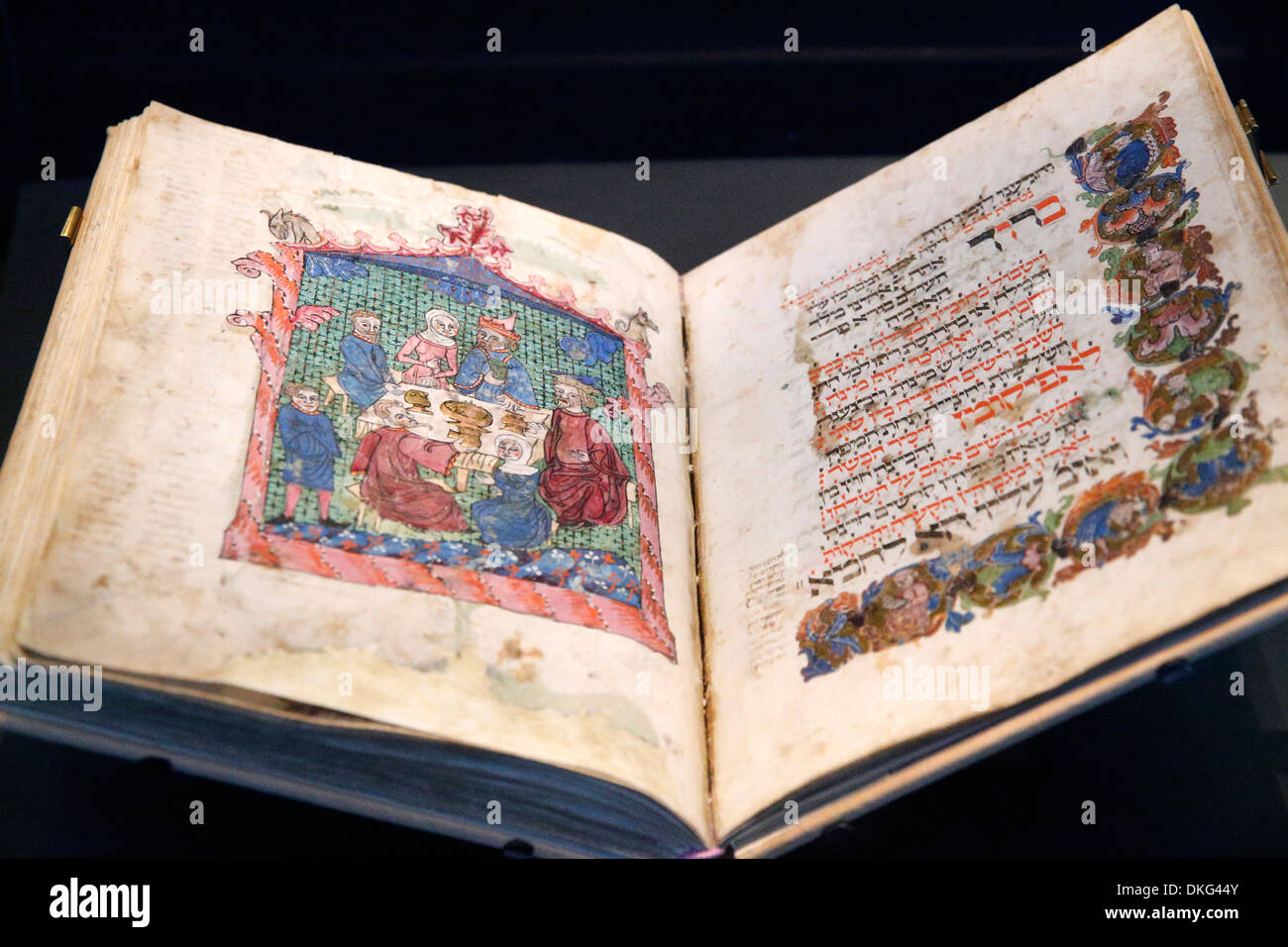 The Erna Michael Haggada from Germany dated 1400, The Israel Museum, Jerusalem, Israel, Middle East - Stock Image
