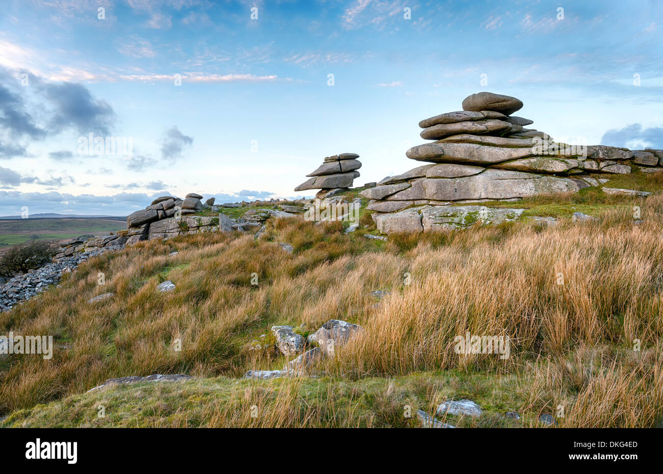 A granite tor at Stowes Hill on Bodmin Moor in Cornwall - Stock Image