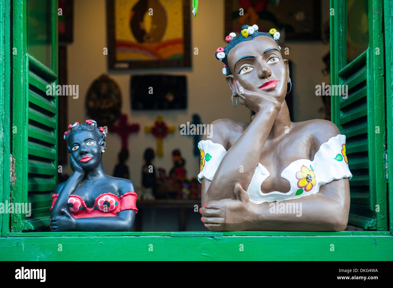 Traditional puppets in a window in Sao Joao del Rei, Minas Gerais, Brazil, South America - Stock Image