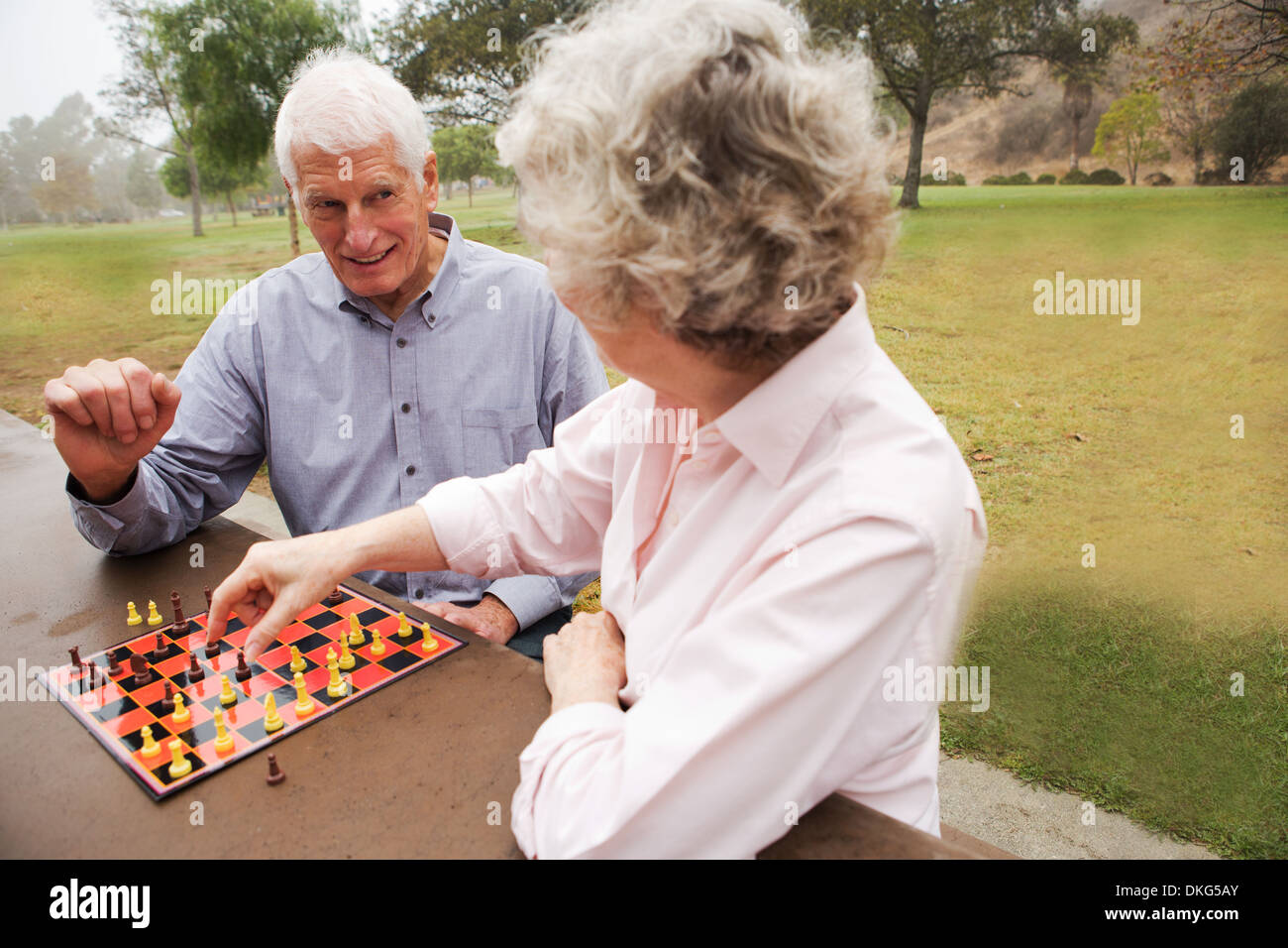 Husband and wife playing chess in the park - Stock Image