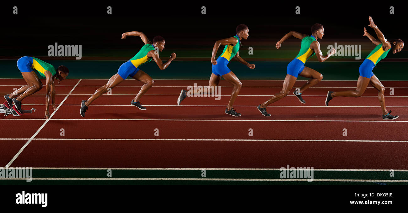 Multi exposure of young woman in sprint sequence - Stock Image