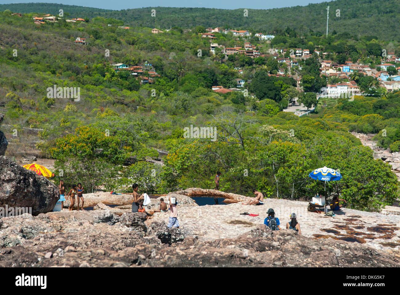 Parque Nacional de Chapada Diamantina, Lencois, Bahia, Brazil: Bathing at one of many Rio Lencois' natural pools. - Stock Image