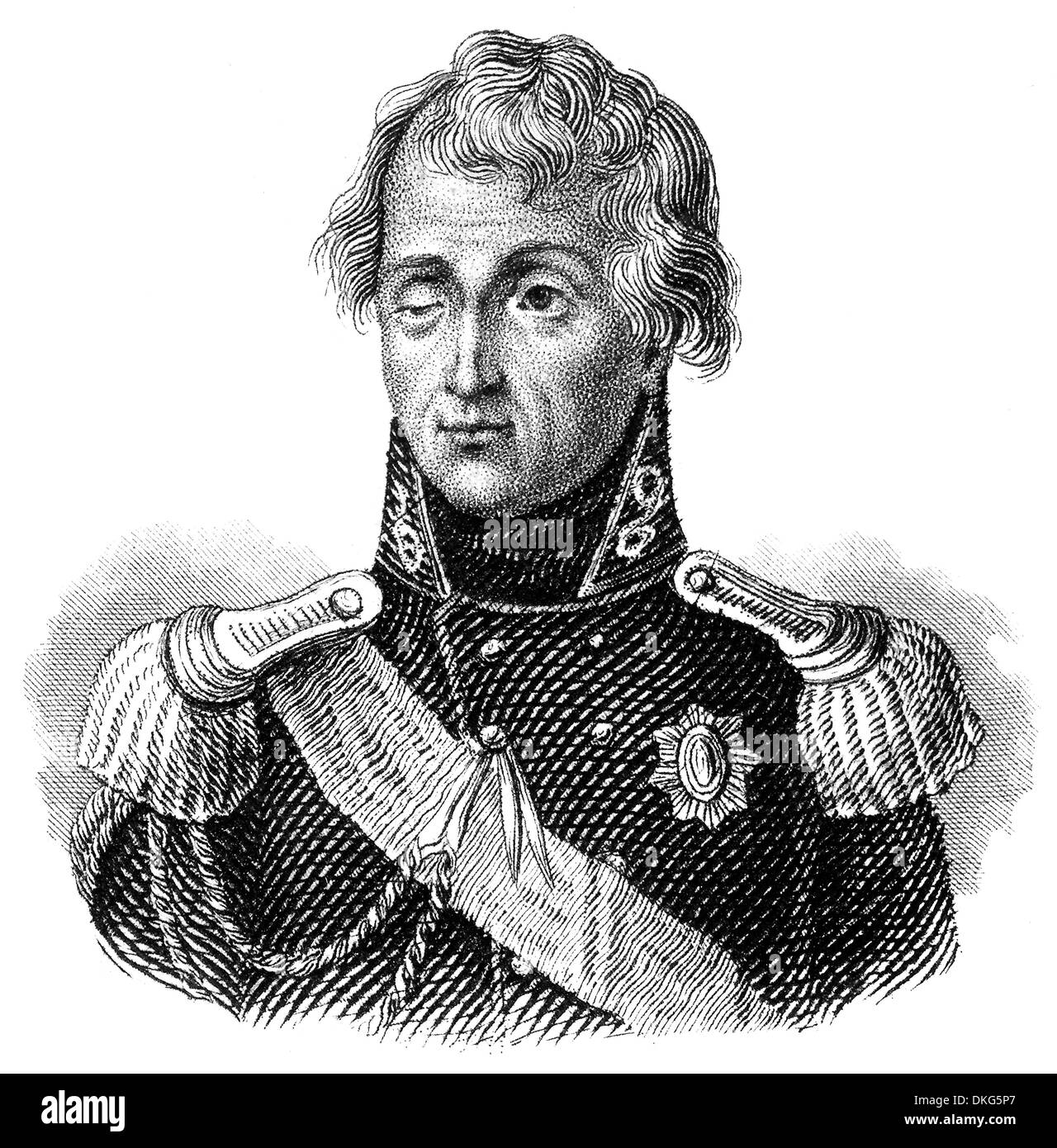 Portrait of Mikhail Illarionovich Golenishchev-Kutuzov, 1745 - 1813, a Field Marshal of the Russian Empire, - Stock Image
