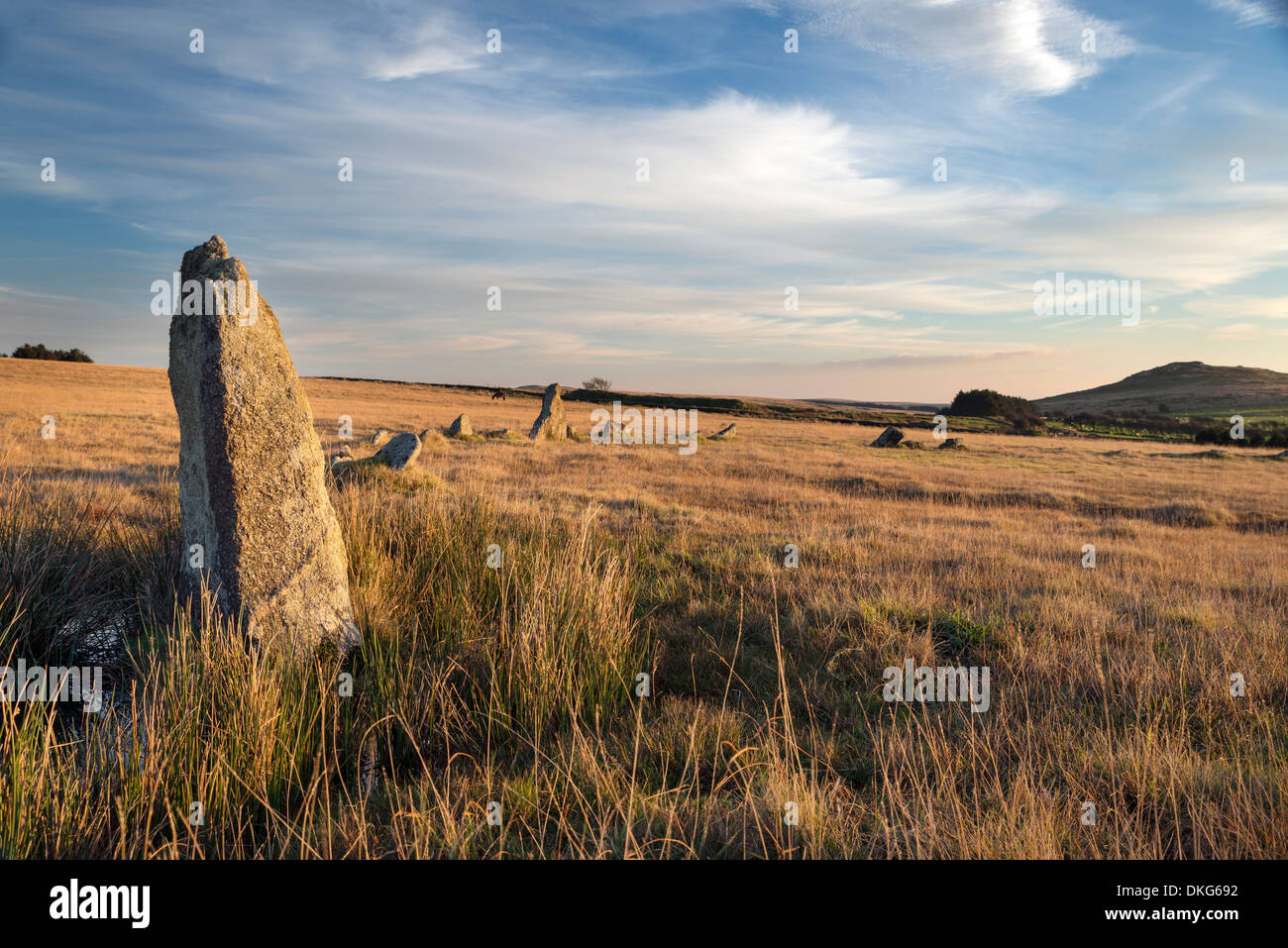 Fernacre stone circle on Bodmin Moor in Cornwall - Stock Image