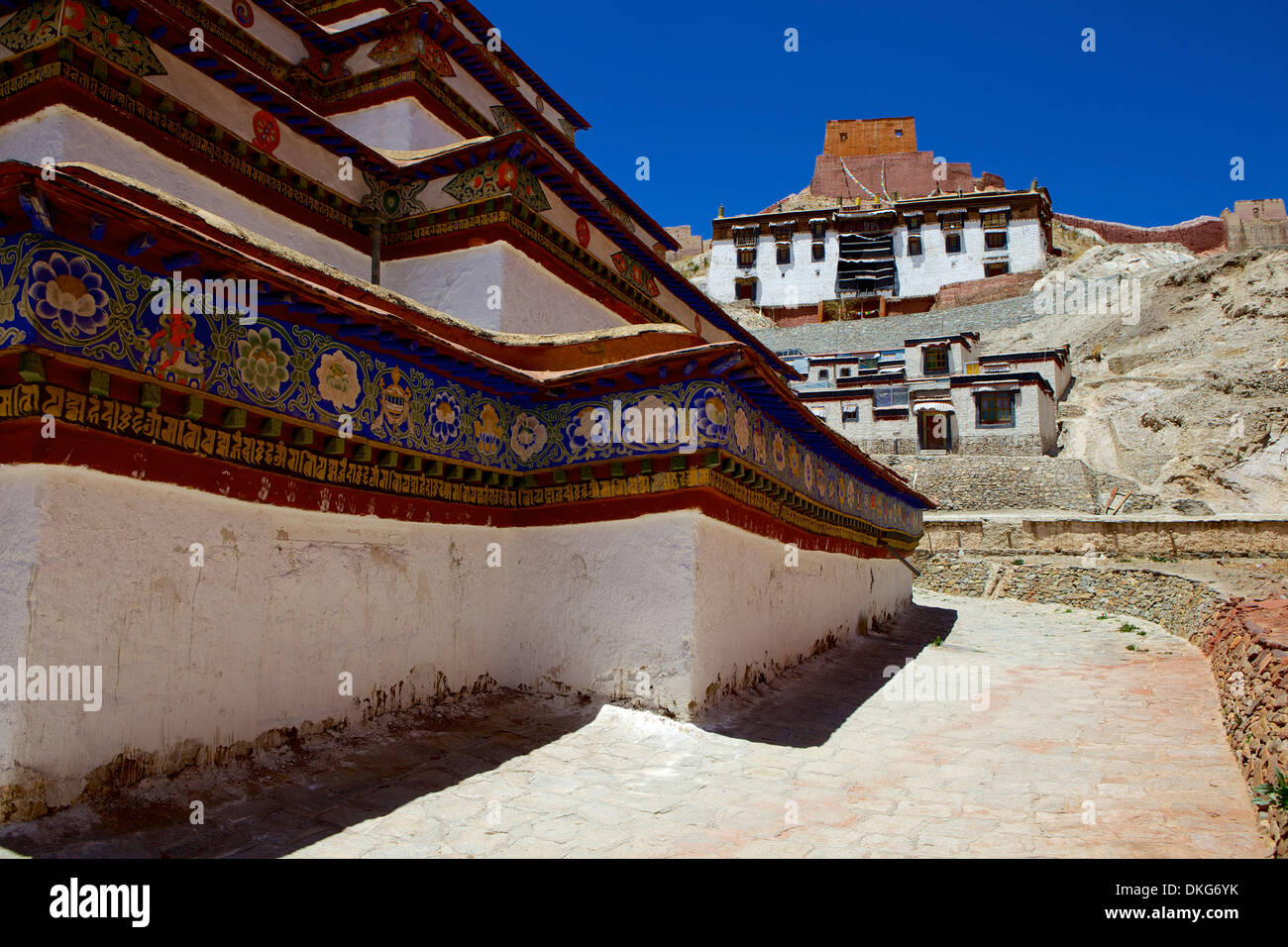 The base of Kumbum chorten (Stupa) in the Palcho Monastery at Gyantse, Tibet, China, Asia - Stock Image