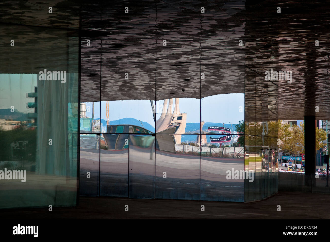 Reflections in Museu Blau - Blue Museum, Natural History and Science Museum, Barcelona, Catalonia, Spain - Stock Image